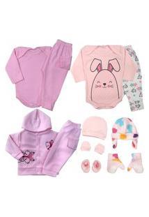 Saída Maternidade Kit 11 Pç Enxoval Roupa De Bebê Body Mijão Rosa