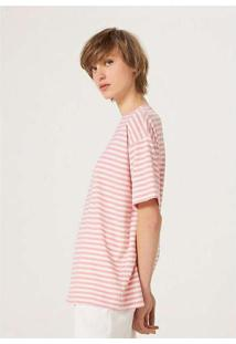 Blusa Básica Feminina Listrada Em Algodão Rosa