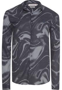 Camisa Masculina Estampa Deep Ocean - Cinza