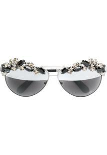 Philipp Plein Óculos De Sol Com Aplicações - Preto