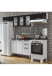 Cozinha Compacta 3 Portas De Vidro 2 Portas Basculante 1 Balcão Com Tampo Luce 2018 Itatiaia Preto/Branco