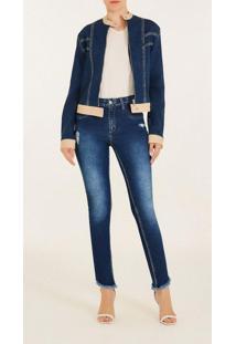 Jaqueta Iodice Biker Com Recorte Jeans