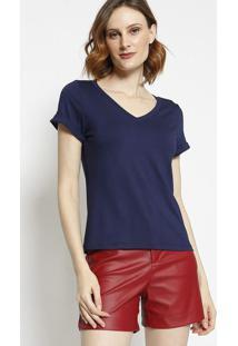 Blusa Com Recorte- Azul Marinho- Milioremiliore