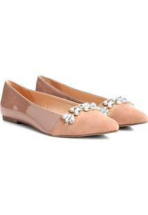 Sapatilha Couro Shoestock Bico Fino Pedraria Feminina - Feminino-Nude