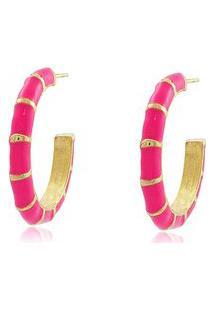 Brinco Viva Jolie Argola Colors Média Rosa Pink Banho Em Ouro