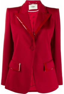Fendi Blazer Estruturado Com Detalhe De Couro Envernizado - Vermelho