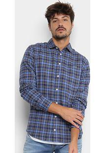 Camisa Xadrez Manga Longa Colcci Slim Masculina - Masculino-Marinho