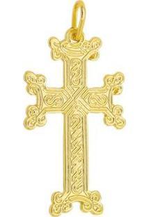 Pingente Cruz Tudo Joias Folheada A Ouro 18K - Unissex-Dourado