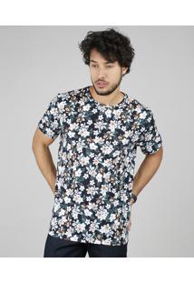 Camiseta Masculina Comfort Fit Estampada Floral Manga Curta Gola Careca Azul Marinho