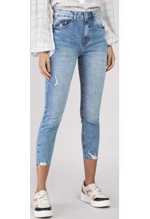 Calça Jeans Feminina Skinny Cropped Cintura Alta Com Puídos Azul Claro
