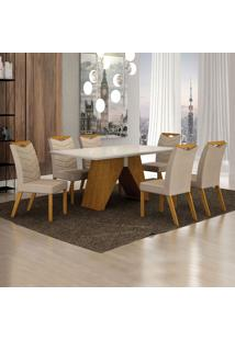 Conjunto De Mesa De Jantar I Com 6 Cadeiras Verona Veludo Off White E Palha