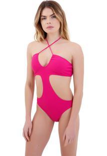 Body Rosa Chá Capri Canelado Pink Beachwear Rosa Feminino (Pink Gio, Gg)