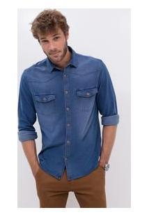 Camisa Comfort Em Jeans Moletom