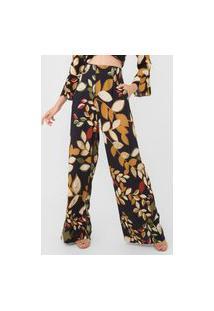 Calça Mob Pantalona Floral Preta