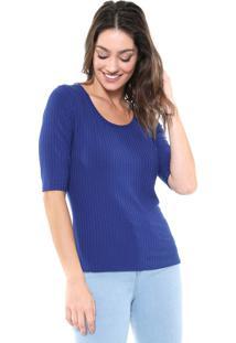 Blusa Lunender Canelada Azul