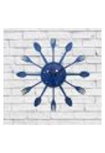 Relógio De Parede Cozinha Decorativo Talheres Azul 15X15X3Cm