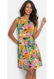 Vestido Evasê Estampado Floral Preto
