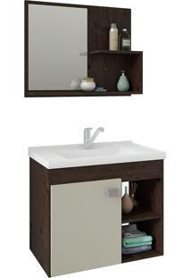 Conjunto Para Banheiro Com 1 Porta E Cuba Lotus-Mgm - Cafe / Off White