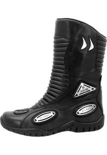 Bota Atron Shoes Motociclista Cano Alto On Road Com Slider Couro Preto