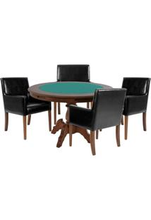 Mesa De Jogos Carteado Redonda Montreal Tampo Reversível Imbuia Com 4 Cadeiras Liverpool Corino Preto Liso - Gran Belo