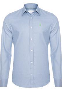 Camisa Masculina Jeans Elastano - Azul Claro