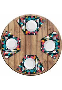 Jogo Americano Love Decor Para Mesa Redonda Wevans Polygonal Kit Com 4 Pçs