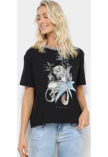 293b8eb1d ... Camiseta Colcci Estampada Macaco Feminina - Feminino-Preto