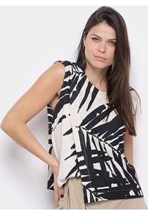 Blusa Osklen Assimetric Sand Palm Feminina - Feminino-Preto