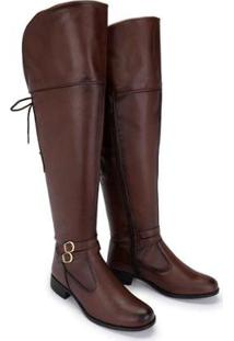 Bota Schiareli Over The Knee Com Cadarço Feminina - Feminino-Marrom Claro