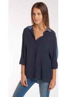 Camisa Rosa Chá Margot 2 Seda Azul Marinho Feminina (Marinho, P)