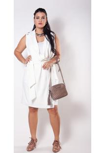 Vestido/Maxi Colete Kapsuli Plus Size Branco