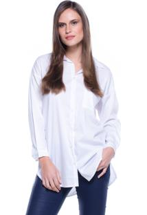 Camisa Lovestone Manga Longa Lisa Bolso Branco