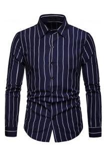 Camisa Masculina Listra Vertical Manga Longa - Azul Escuro