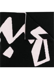 Off-White Cachecol De Tricô Com Estampa Gráfica - Preto