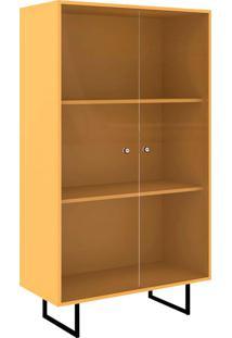 Cristaleira Baixa 2 Portas De Vidro Rt 3073 Amarelo - Móvel Bento