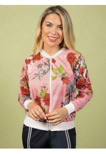 Jaqueta Bomber Rosê Com Estampas Florais