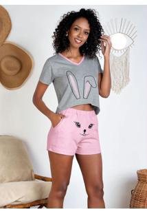 Pijama Com Bordado Frontal Mescla E Rosa
