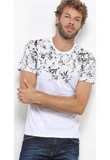 Camiseta All Free Floral Masculina - Masculino-Off White