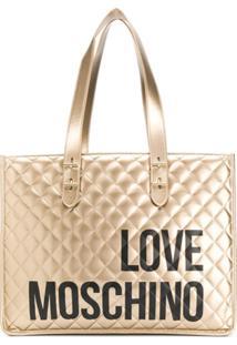 Love Moschino Bolsa Tote Matelassê Com Logo - Dourado