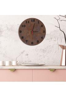 Relógio De Parede Decorativo Premium Corten Com Números Em Relevo Preto Ônix Médio