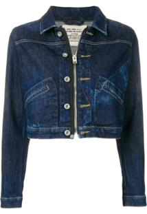 Diesel Jaqueta Jeans Cropped - Azul