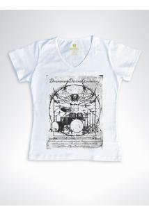 Camiseta Feminina Gola V Rock Cool Tees Bateria Da Vinci Mescla