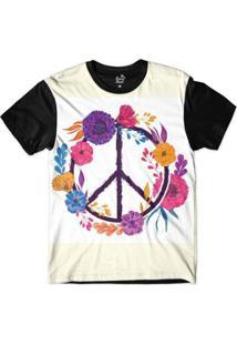Camiseta Long Beach Simbolo Da Paz Com Flores Sublimada Masculina - Masculino-Branco+Preto