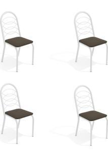 Conjunto Com 4 Cadeiras De Cozinha Holanda Branco E Marrom