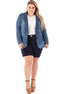 Blazer Jeans Slin Fit Plus Size Feminino - Feminino-Azul