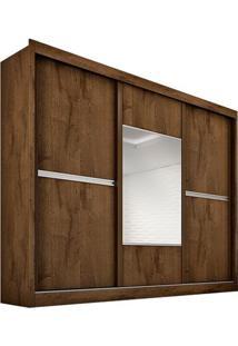 Guarda-Roupa Ipê Plus - 3 Portas - Com Espelho - 100% Mdf - Braúna