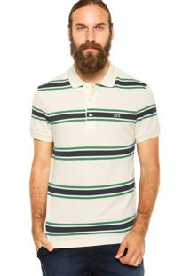 Camisa Polo Lacoste Listras Off-White