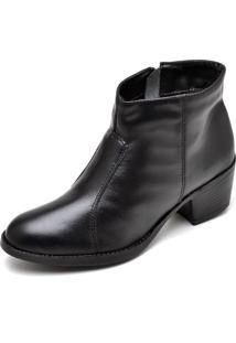 Bota Couro Dr Shoes Pespontos Preta