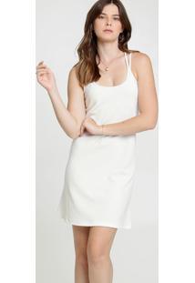 Vestido Feminino Textura Alças Finas