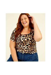 Blusa Plus Size Feminina Estampa Animal Print Vazada